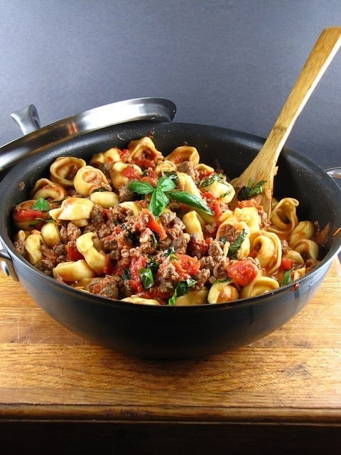 Easy Cheese Tortellini with Meat Sauce   Miss in the Kitchen