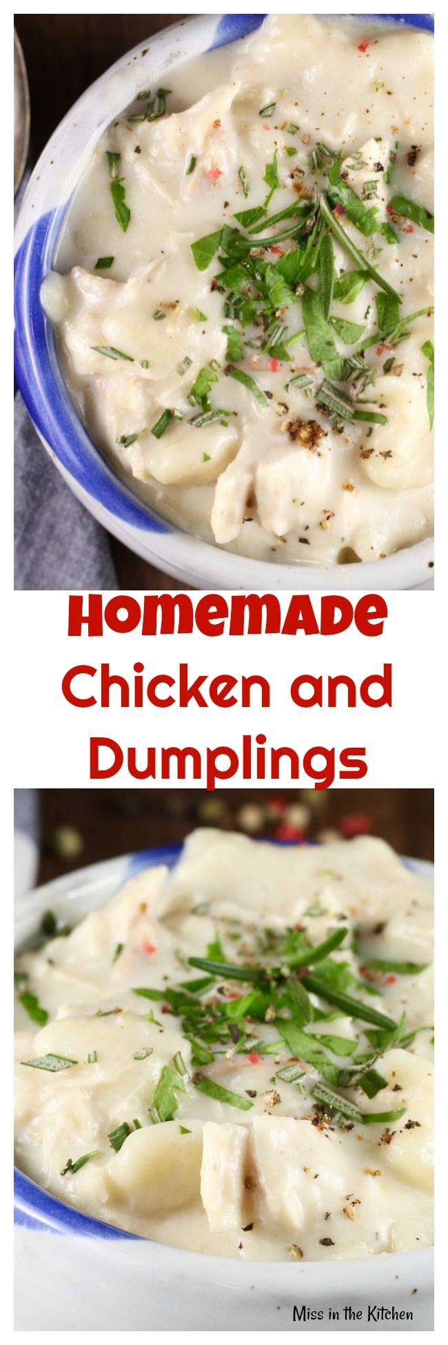 Homemade Chicken and Dumplings Recipe perfect for cold winter nights! MissintheKitchen.com #comfortfood #chicken