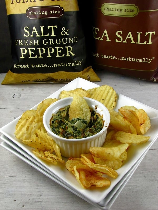 Pepper-Jack Spinach Dip with Kettle Brand Chips - Miss in the Kitchen