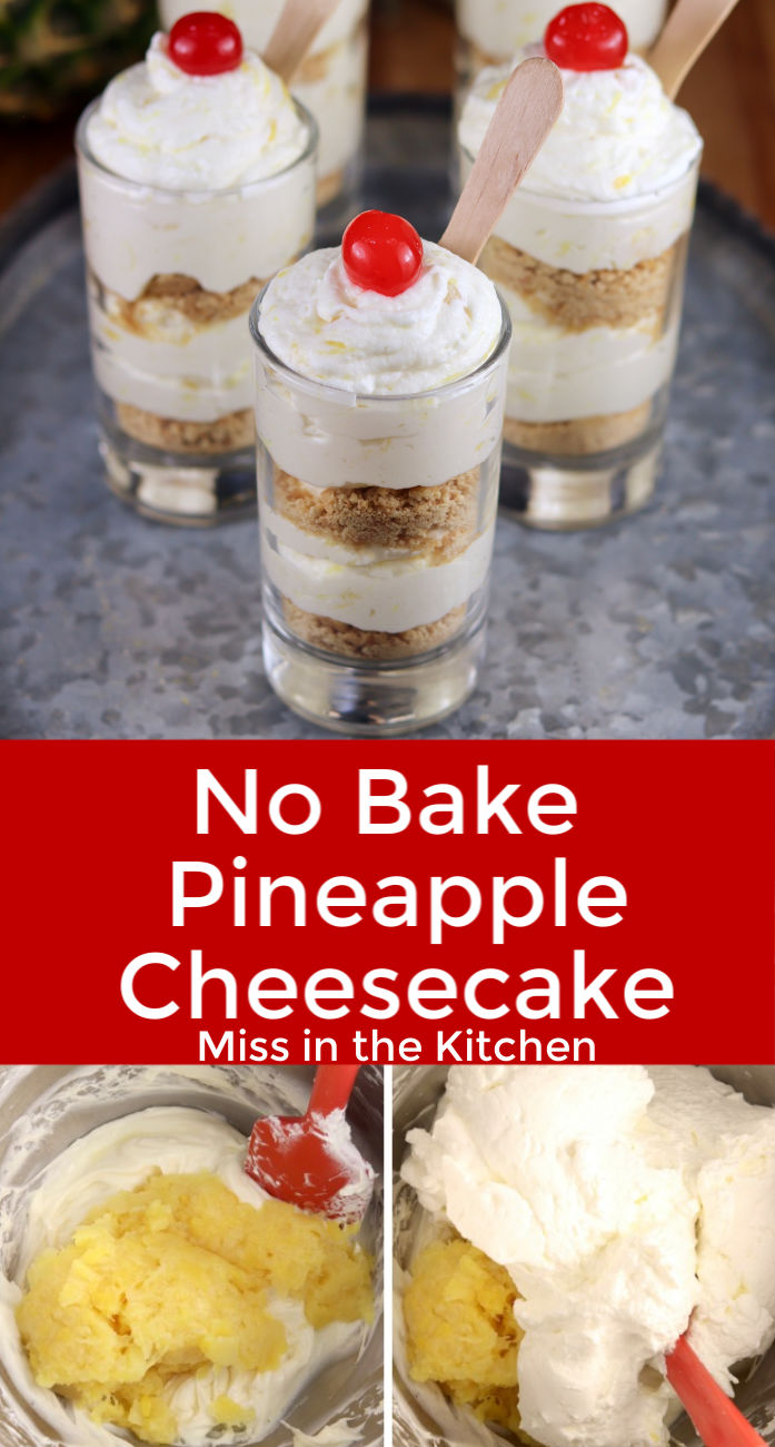 No Bake Pineapple Cheesecake collage