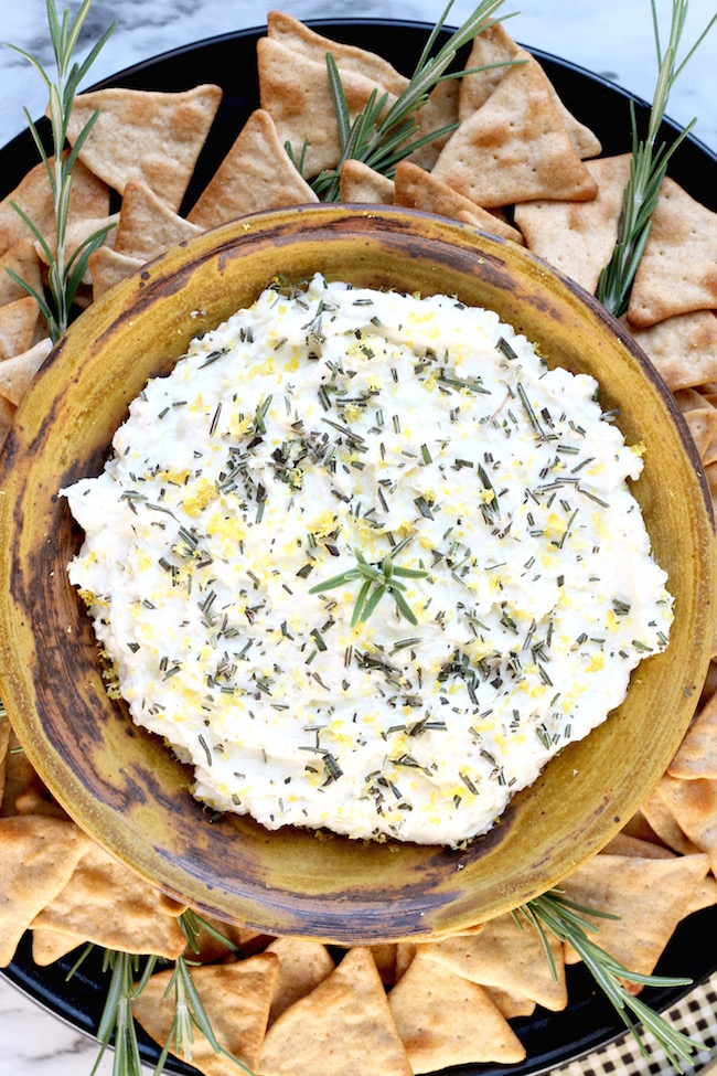 Whipped Feta Spread with lemon garlic and rosemary served with pita chips