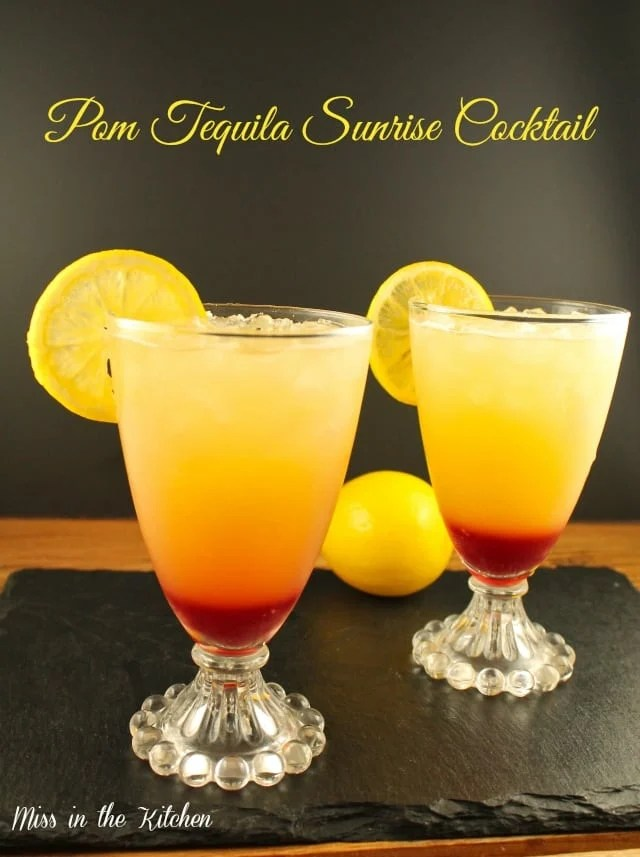 Pom Tequila Sunrise Cocktail from Missinthekitchen.com