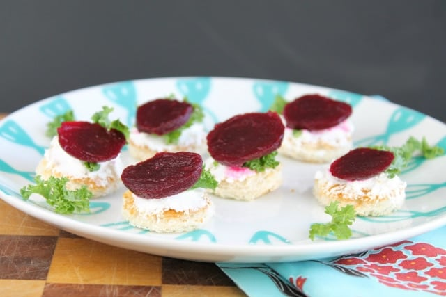 Beet, Goat Cheese & Kale Crostini