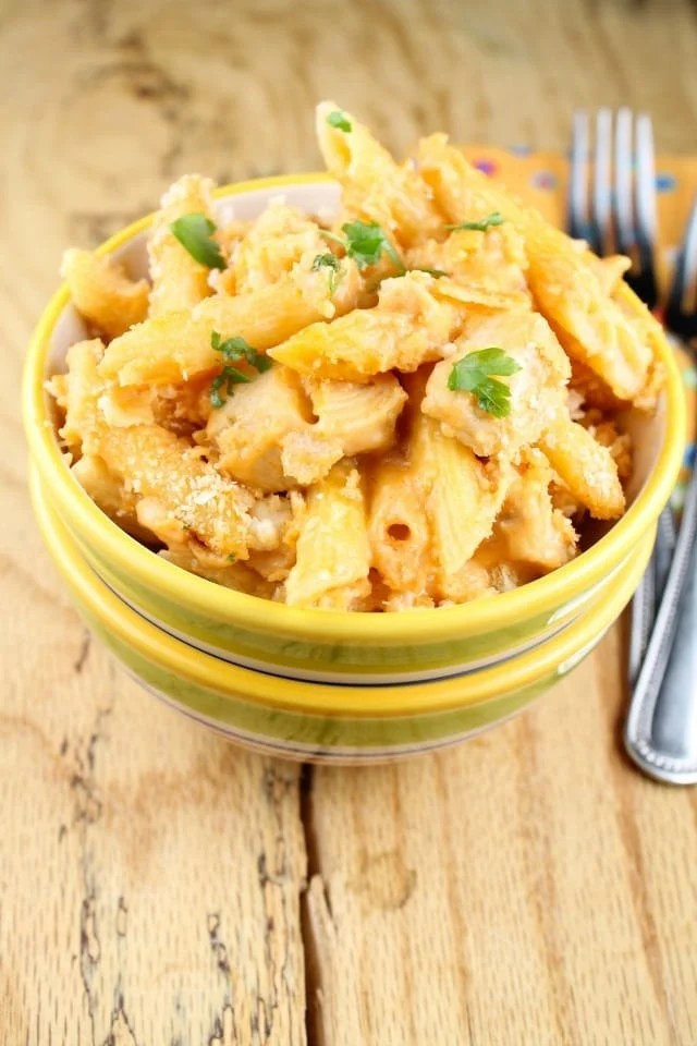 Creamy Swiss & BBQ Chicken Penne Pasta from Miss in the Kitchen