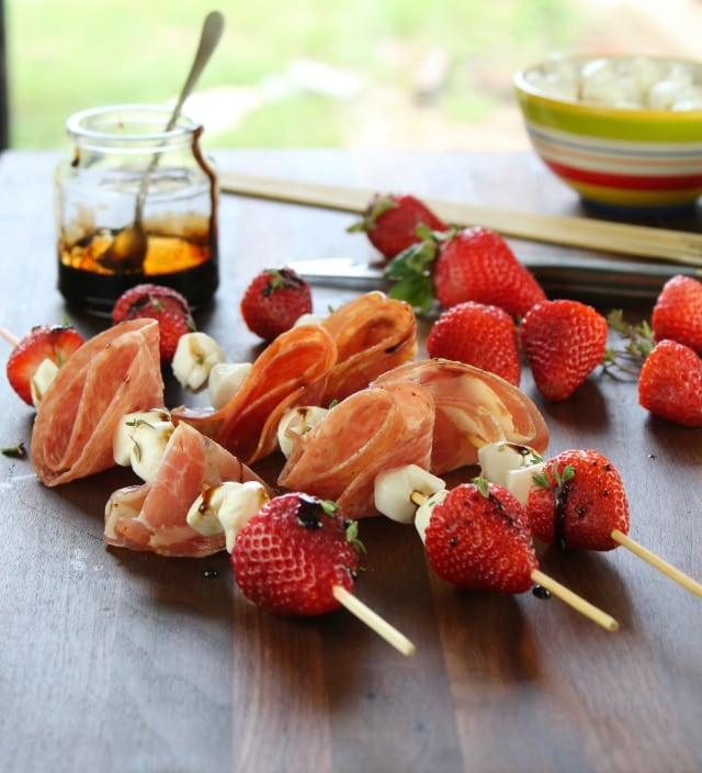 Strawberry Mozzarella & Salami Skewers