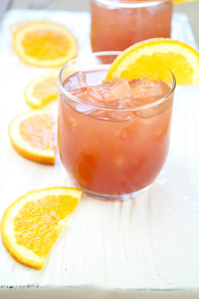 Orange Pomegranate Moscato Cocktail from Miss in the Kitchen