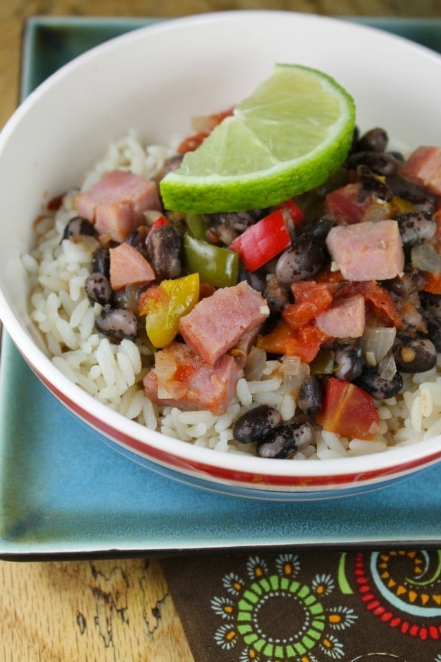 Ham with Orca Beans and Rice from missinthekitchen.com