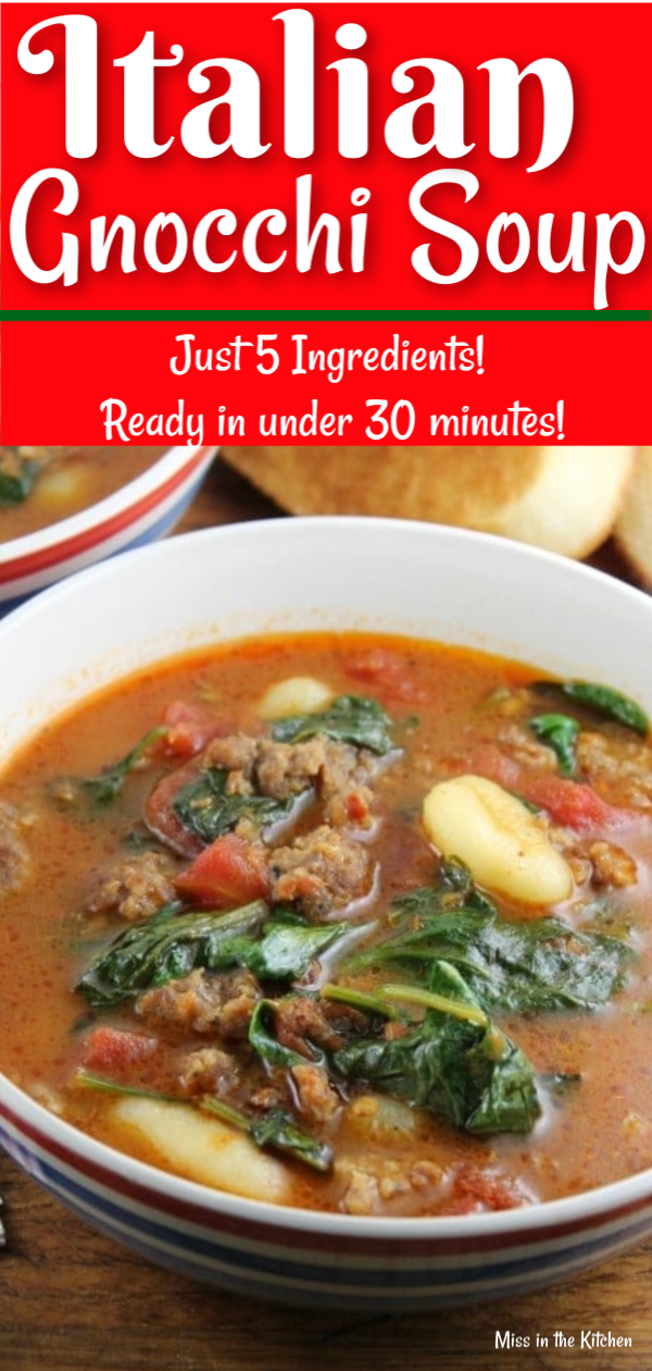 Italian Gnocchi Soup with sausage and spinach