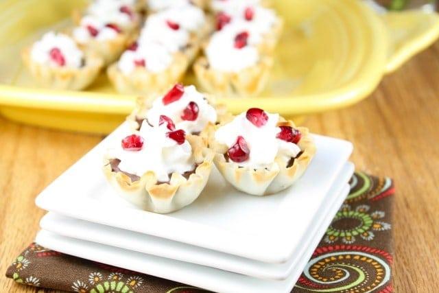 Pomegranate Chocolate Phyllo Tarts