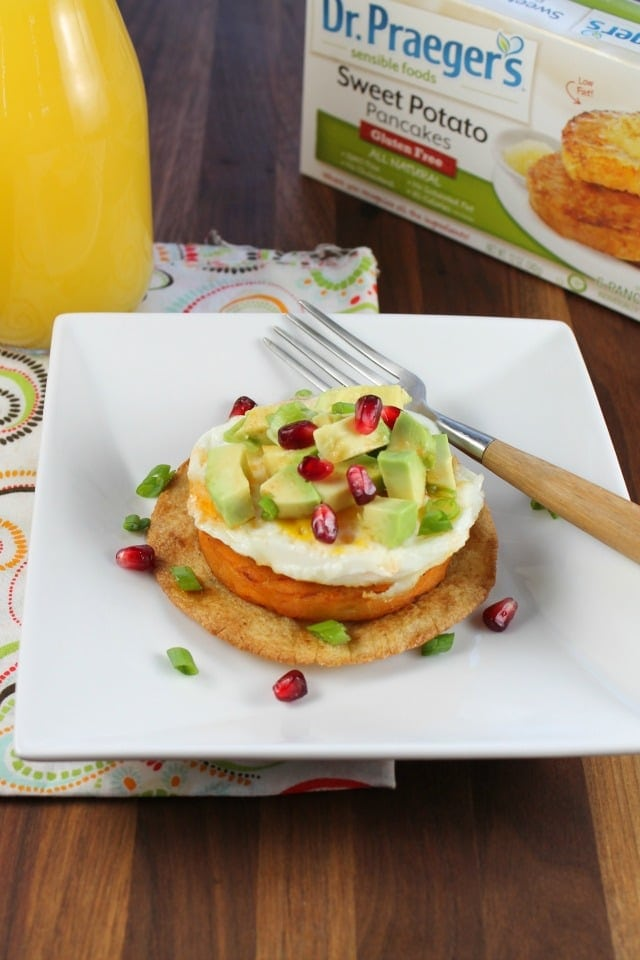 Sweet Potato Breakfast Tostadas with Dr. Praeger's Sweet Potato Pancakes from Miss in the Kitchen