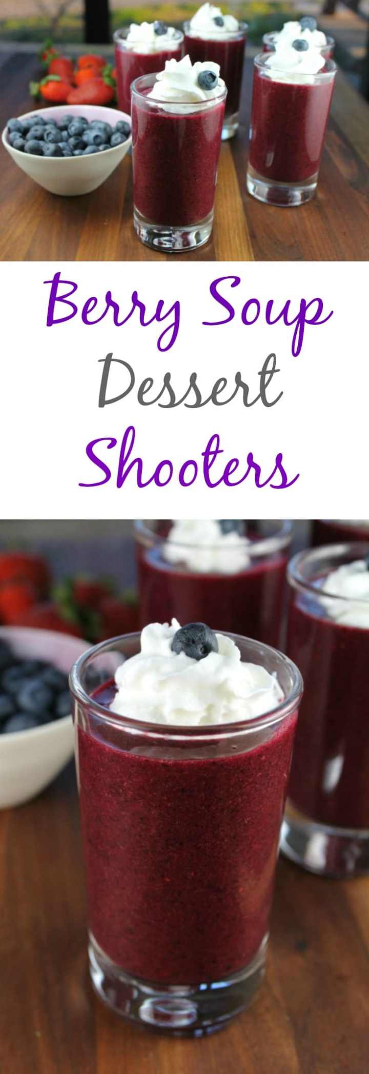 Berry Soup Dessert Shooters are a simple, healthy and delicious recipe from Miss in the Kitchen #ProgressiveEats