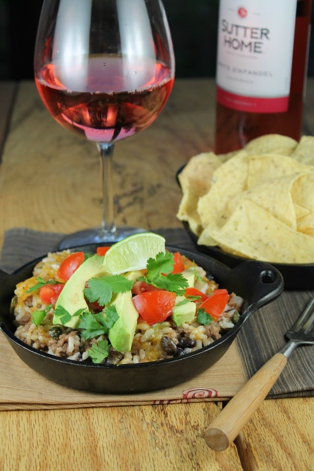 Tex-Mex Cheesy Rice Casserole is a simple and delicious dinner idea. Recipe from Miss in the Kitchen