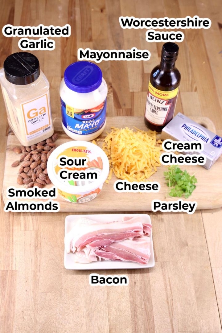 Ingredients for dip with text labels