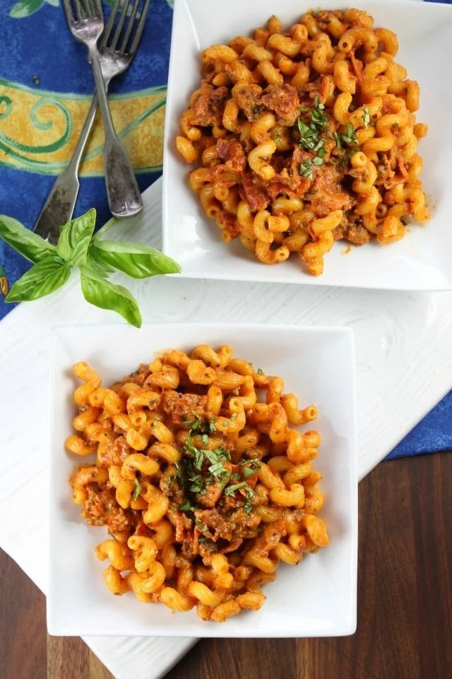 Pizza Pasta Skillet Recipe is a quick and easy recipe from missinthekitchen