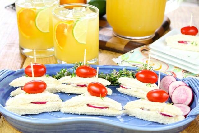 Zesty Punch Sippers & Radish Sandwiches from missinthektichen