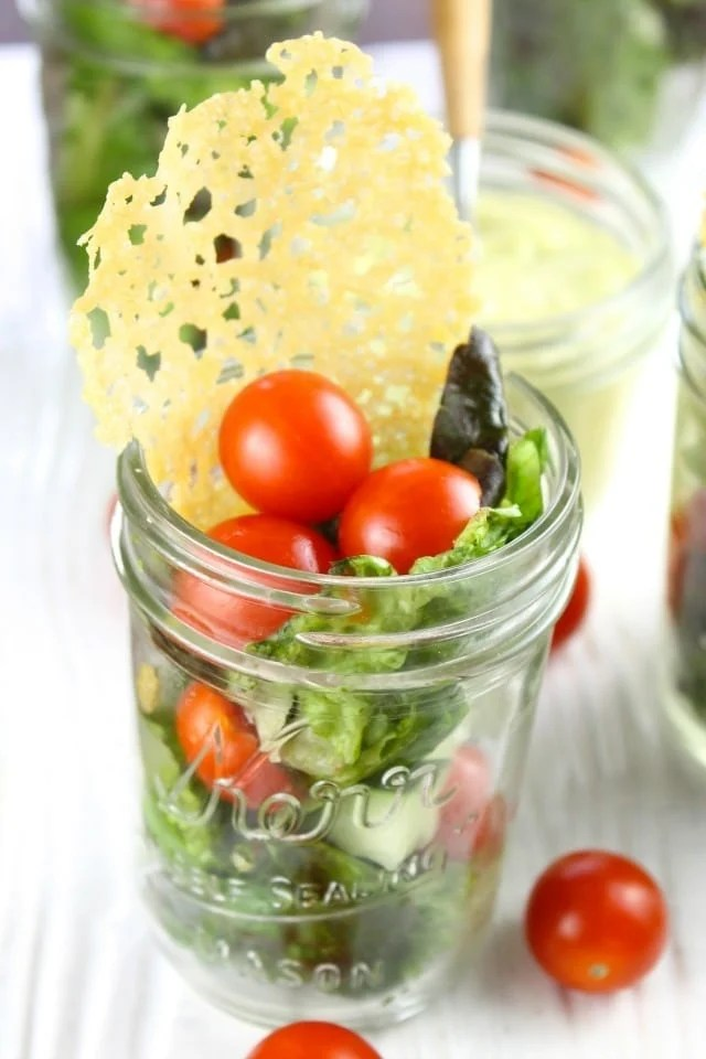 Summer Salads in Jars with Dubliner Cheese Crisps and Homemade Avocado Dressing  are perfect for summer cookouts, picnics and backyard barbecues.  Recipe from missinthekitchen.com