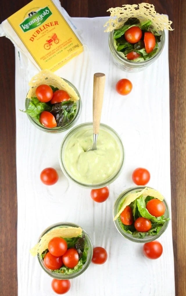 Summer Salads in Jars, Dubliner Cheese Crisps & Avocado Dressing Miss in the Kitchen