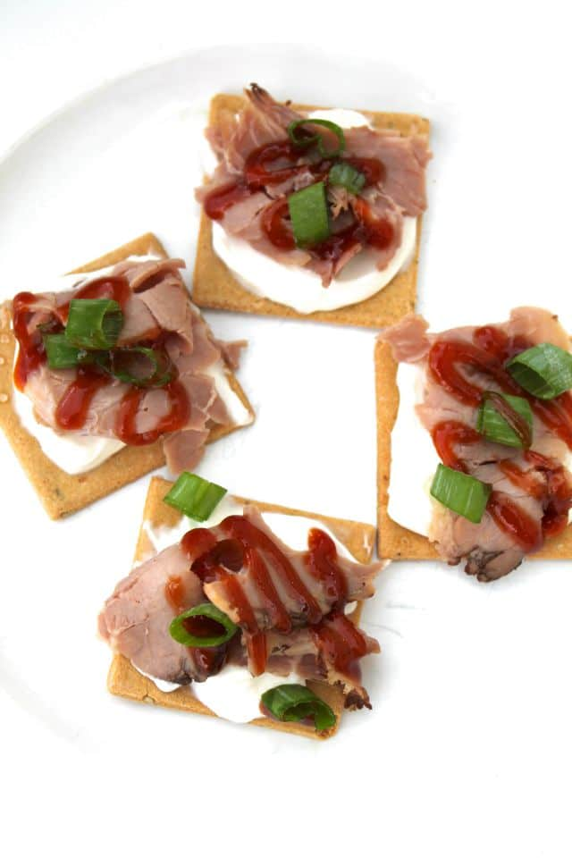 Easy Roast Beef Appetizers Recipe from Miss in the Kitchen with Partners Gluten Free Crackers
