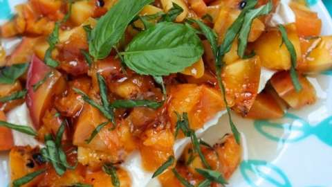 Grilled Peaches, Basil and Honey Appetizer