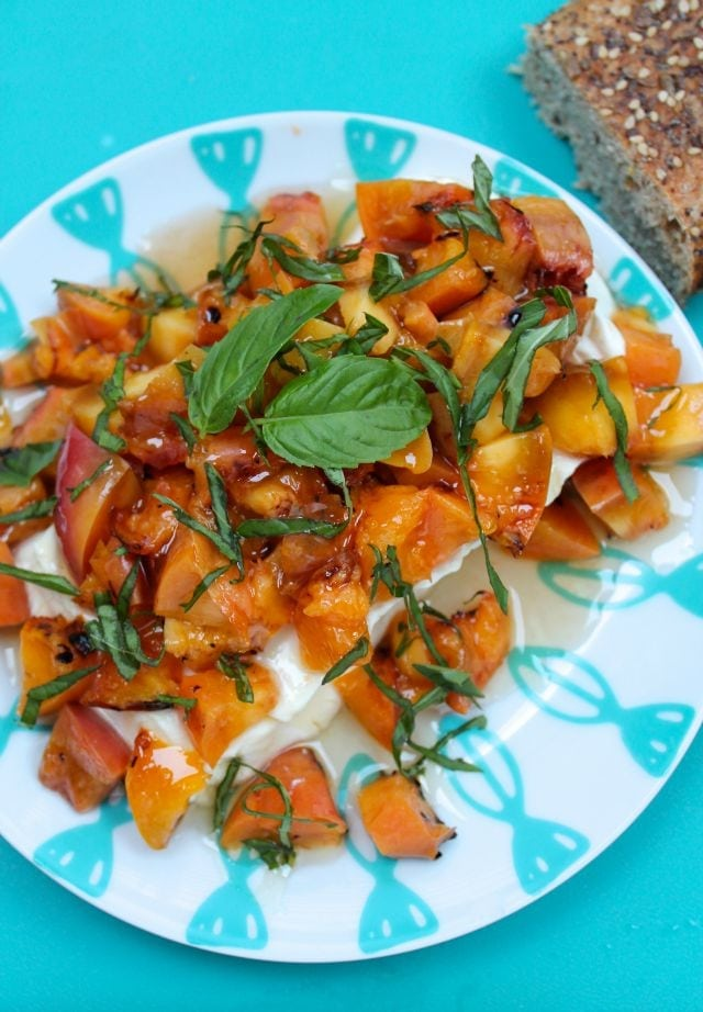 Grilled Peaches, Basil and Honey Appetizer Recipe from Miss in the Kitchen #ProgressiveEats