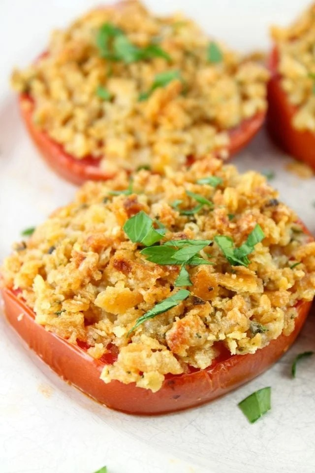 Cheddar Crumb Topped Tomatoes Recipe from Miss in the Kitchen