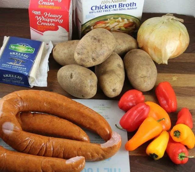 Ingredients for Slow Cooker Cheesy Smoked Sausage and Idaho Potato Soup from missintehkitchen.com