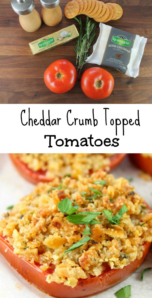 Kerrygold Cheddar Crumb Topped Tomatoes Recipe found at Miss in the Kitchen