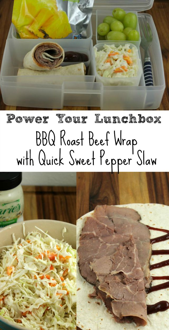 Power Your Lunchbox BBQ Roast Beef Wrap with Quick Sweet Pepper Slaw Recipe from Miss in the Kitchen