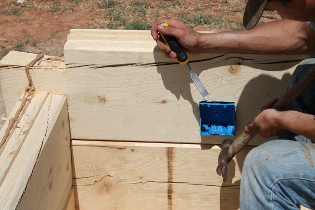 electric box fitting for log cabin  missinthekitchen #LogCabinSaturday