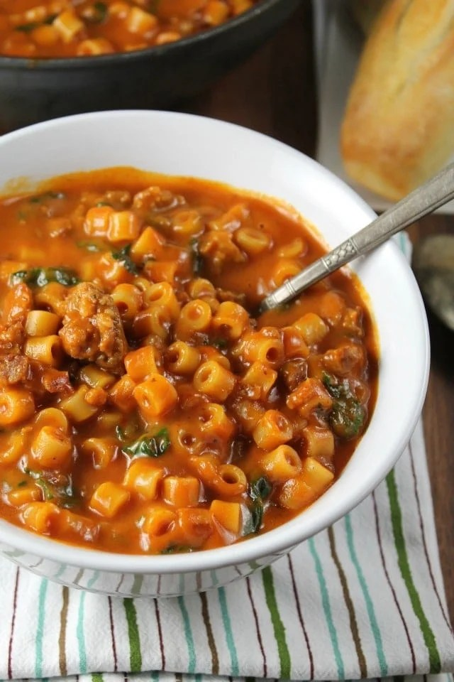 Italian Sausage Pasta Soup Miss In The Kitchen