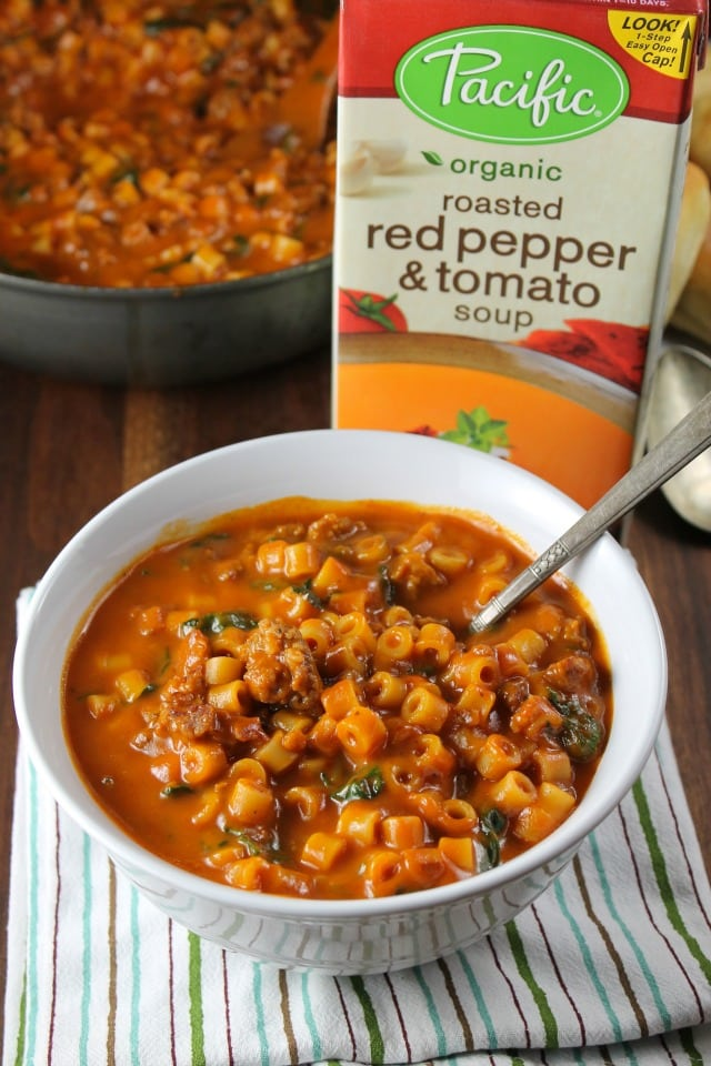 Italian Sausage Pasta Soup from Miss in the Kitchen with Pacific Foods