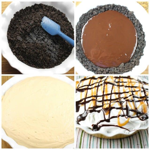 No Bake Fudge Bottom Caramel Pie from MissintheKitchen #WayfairPieBakeOff