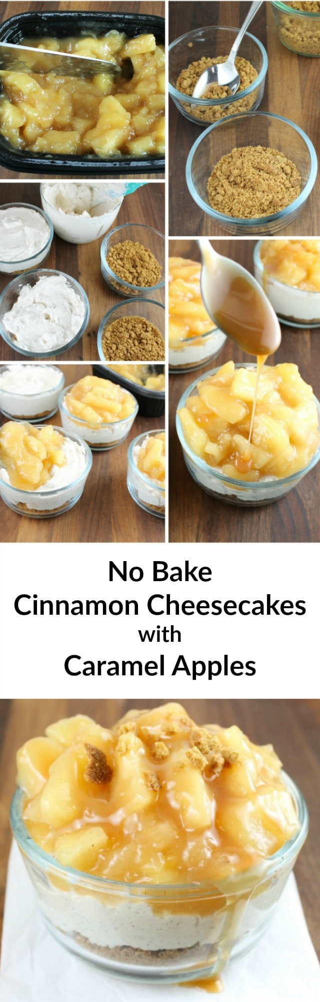 No Bake Cinnamon Cheesecakes with Glazed Apples Recipe found at Miss in the Kitchen