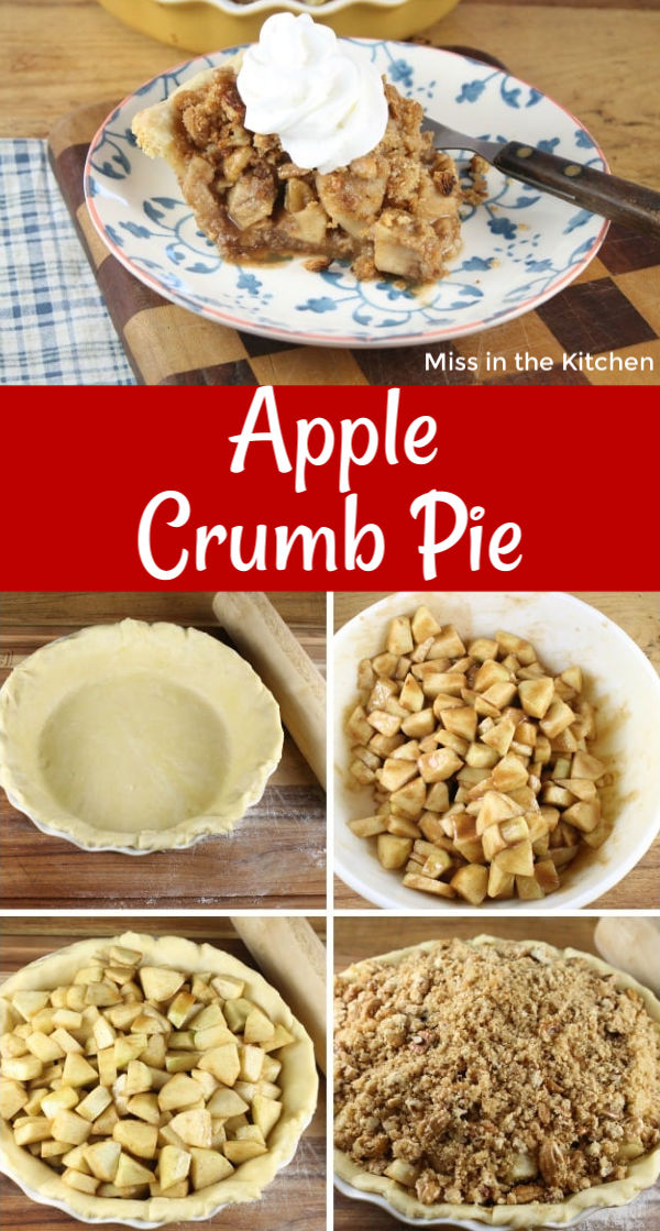 Collage of apple crumb pie with step by step instructions
