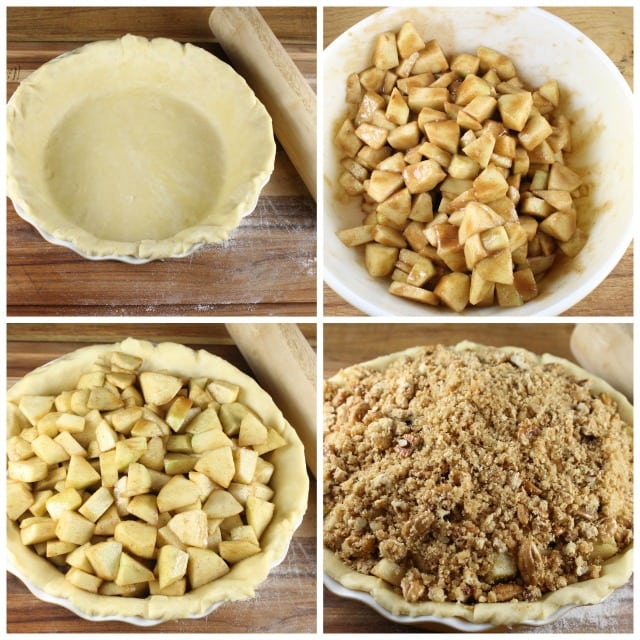 Step by step photos making apple crumb pie