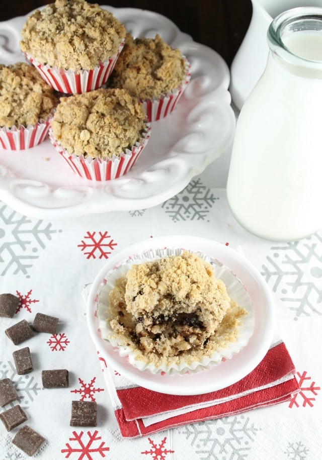 Chocolate Chunk Coffee Cake Muffins ~ Recipe found at Missinthekitchen.com with Red Star Yeast #sponsored #Christmas