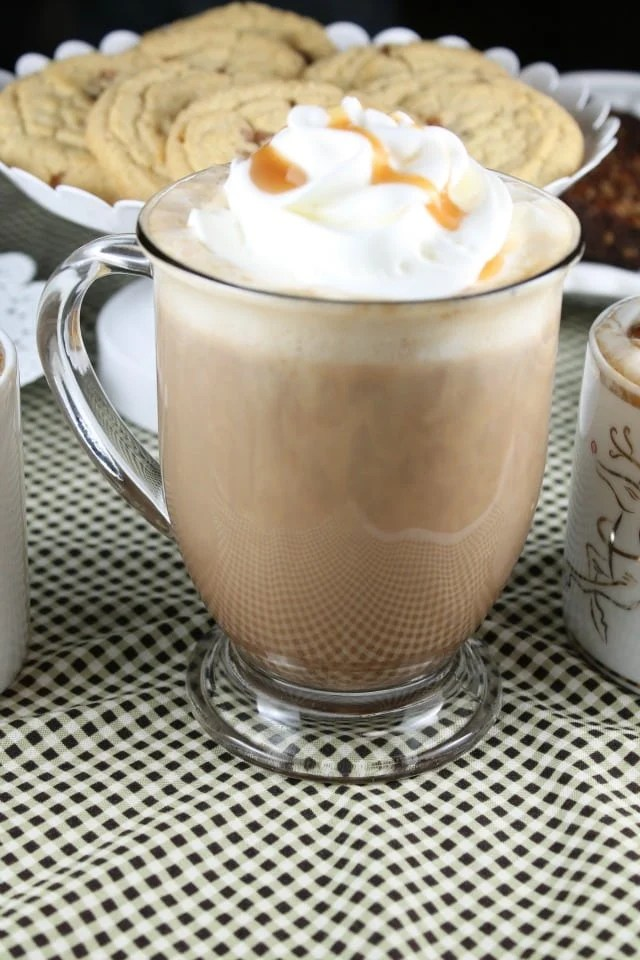 Dulce de Leche Hot Cocoa Recipe from Miss in the Kitchen for the Crazy for Caramel Party with Dancing Deer Baking Co.
