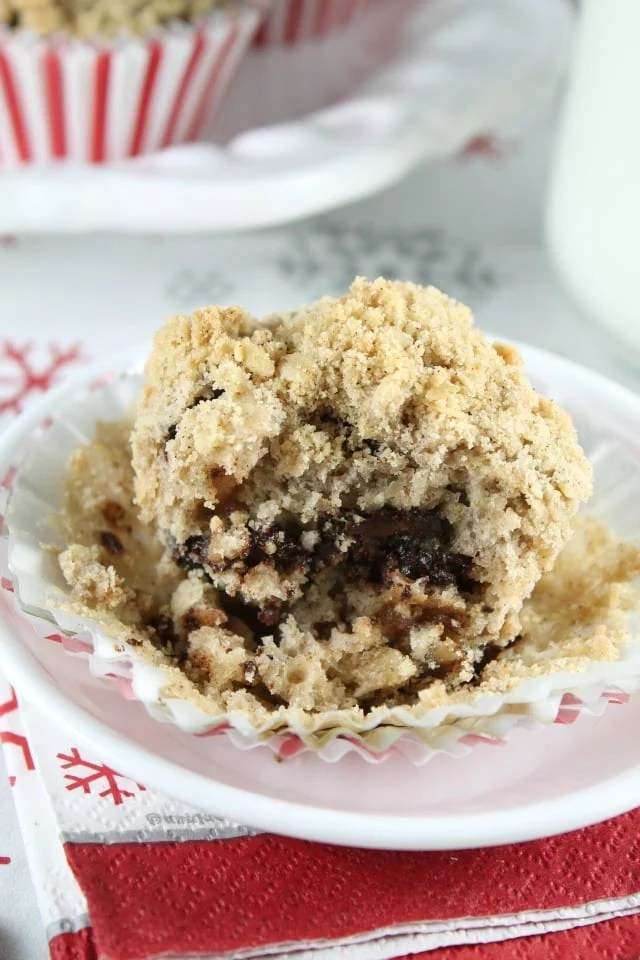 Chocolate Chunk Coffee Cake Muffins with Red Star Yeast Platinum ~ A delicious breakfast treat for any special occasion. Recipe from MissintheKitchen.com #Sponsored