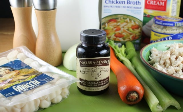 Ingredients for Chicken Gnocchi Soup with Nielsen Massey Madagascar Bourbon Pure Vanilla Bean Paste from Miss in the Kitchen (sponsored)