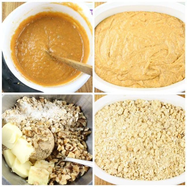 Process of mixing up sweet potato bars with streusel topping from missinthekitchen.com