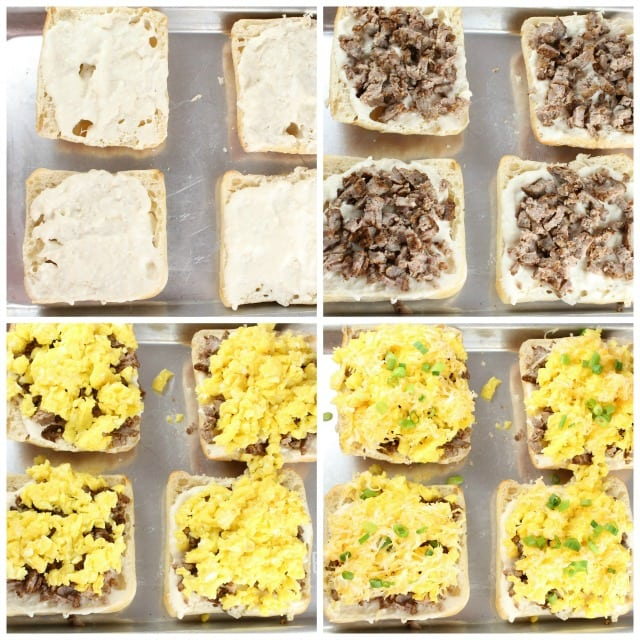 Assembling Ciabatta Breakfast Pizza with Blue Sky Family Farms Free Range and Pasture Raised Eggs ~ Recipe from MissintheKitchen.com