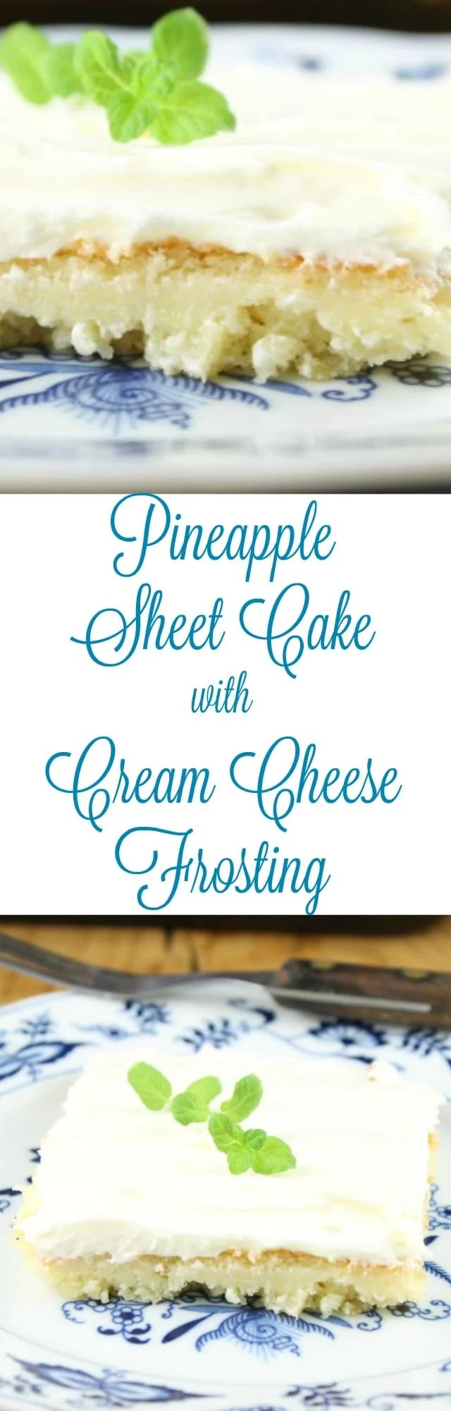 Delicious Dessert Recipe for Pineapple Sheet Cake with Cream Cheese Frosting from MissintheKitchen.com