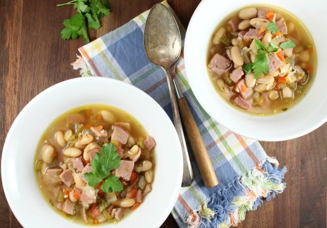 Bowls of One Hour Ham and White Bean Soup from MissintheKitchen.com