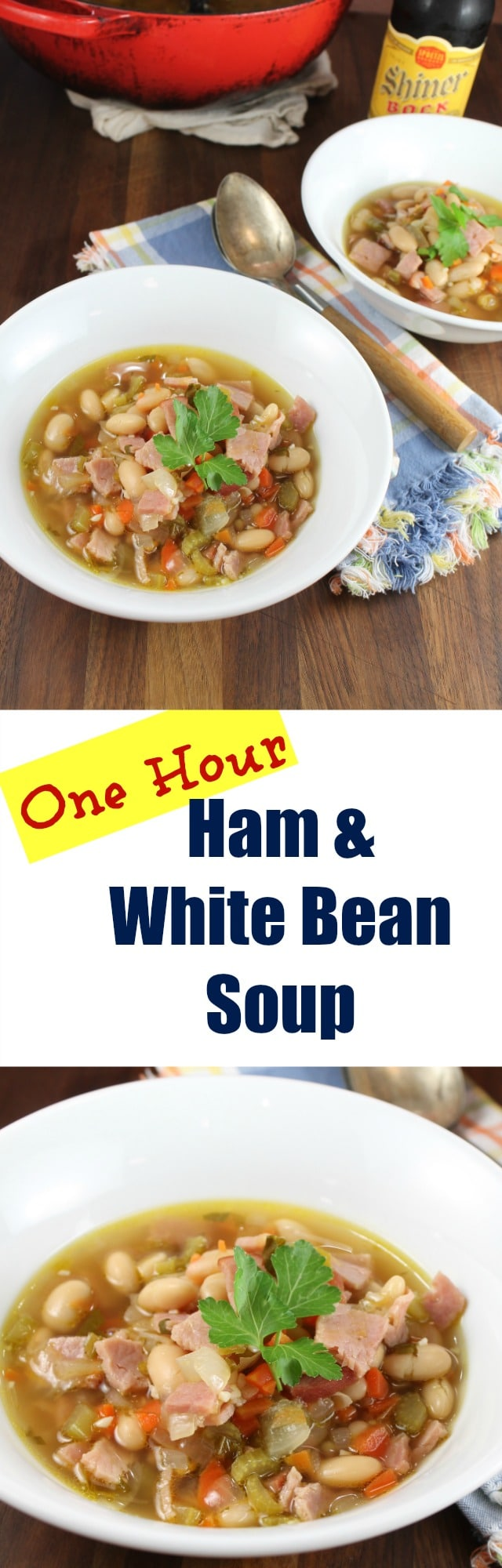 One Hour Ham and White Bean Soup is a filling and delicious dinner that the whole family will enjoy! Recipe from MissintheKitchen.com #ProgressiveEats