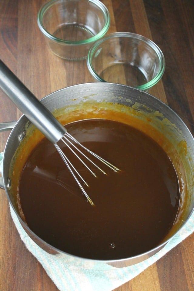 Pan of Salted Caramel Sauce from MissintheKitchen.com