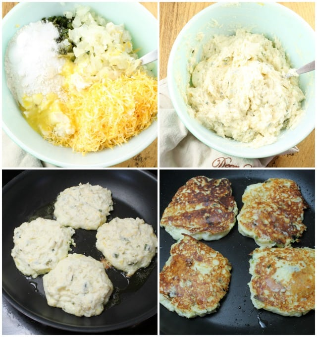 Mixing the Tex Mex Potato Pancakes and Pan Frying ~ MissintheKitchen