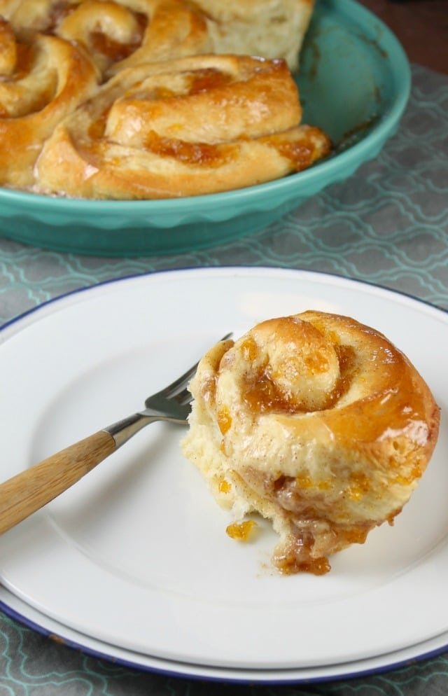 Peach Pie Cinnamon Rolls Recipe from MissintheKitchen.com with Red Star Yeast Platinum