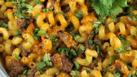 Quick and delicious dinner recipe: Zesty Taco Pasta Bake from MissintheKitchen.com