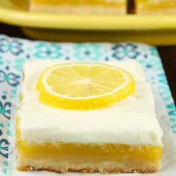 Lemon Bars with Cream Cheese Icing Recipe ~ a perfect summer dessert from MissintheKitchen.com
