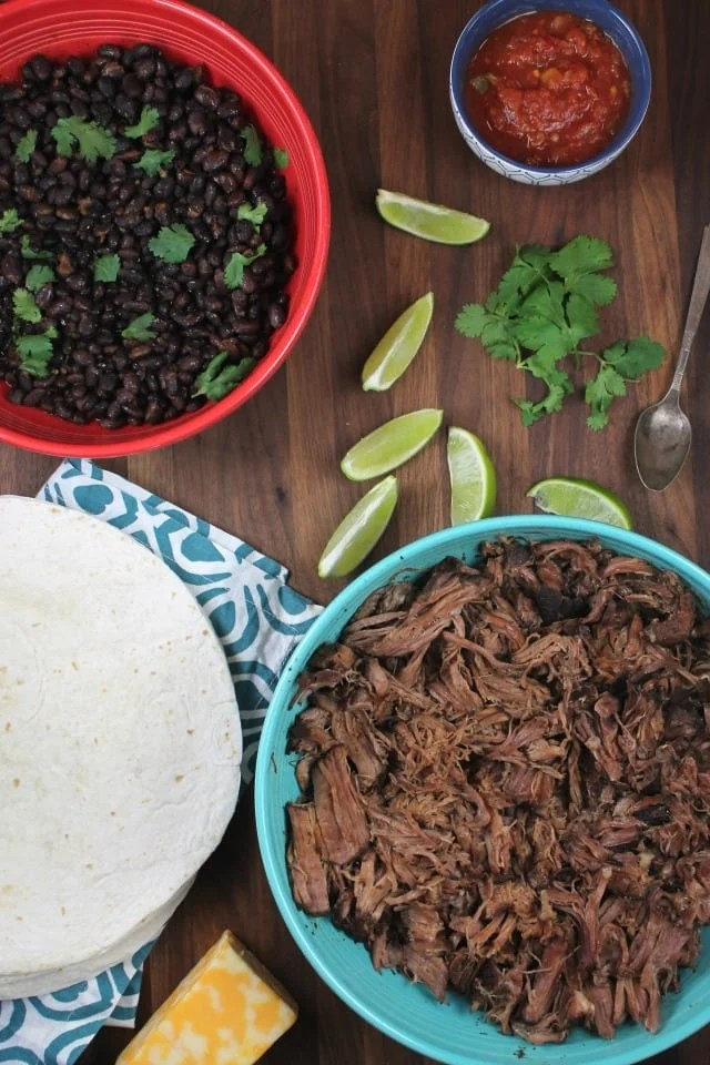 Ingredients for Slow Cooker Beef and Bean Burritos ~ MissintheKitchen.com